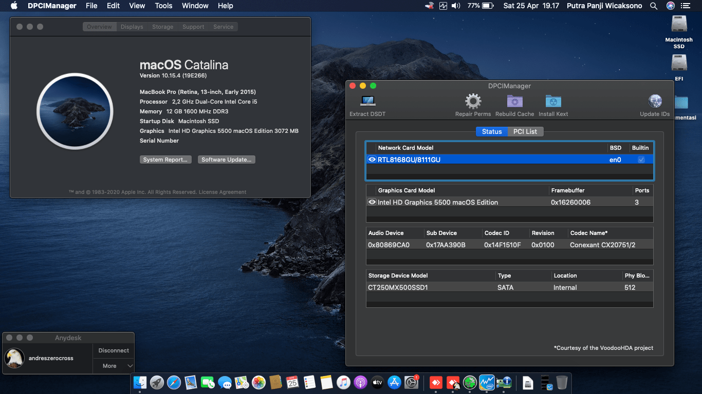Success Hackintosh macOS Catalina 10.15.4 Build 19E266 in Lenovo G40-80